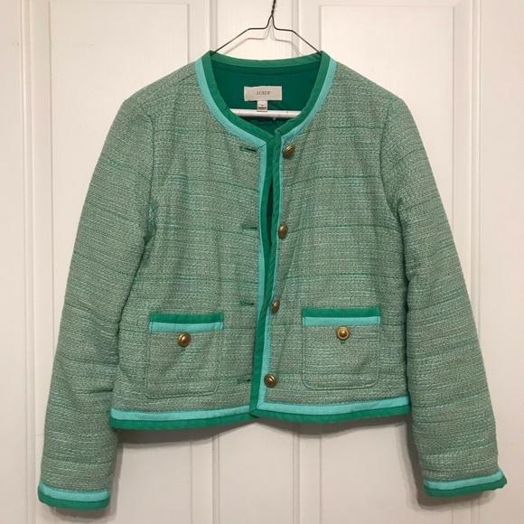 J. Crew Jackets & Blazers - J.Crew Lady Jacket Mint Green Tweed Blazer 8